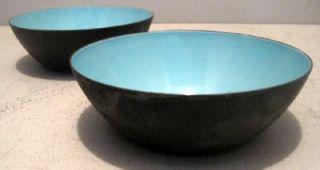 Pair Mid Century Modern Krenit Bowls Denmark Turquoise Interiors