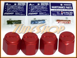 Volk Racing Rays Tire Valve Stem Caps Forged Aluminum Red Universal