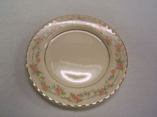 Crooksville China Bread Plate CRO283 Pink Floral Gold Rim VGC
