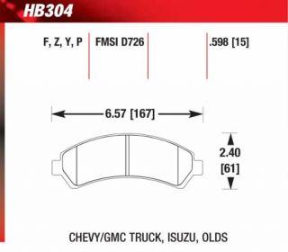 S10 Pickup Hawk Performance Ceramic Brake Pads HB304Z598