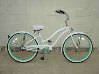 Cruiser Bicycle Bike Micargi Rover Lady White w Mint Green Rims