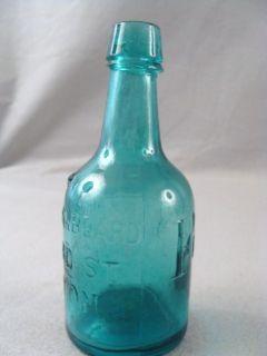 Antique Fairbanks Beard Boston Blue Green Squat 1860s Blob Top Soda