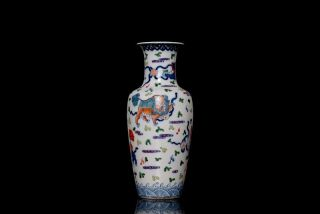 Pair Chinese Qing 18th C Wu Cai Porcelain Polychrome Vase Mark 5DF 7DF