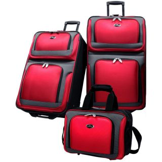 US Traveler New Yorker 3 Piece Luggage Set Expandable Red