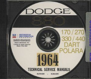 Dodge 1964 Dart Polara 330 440 Shop Manual CD 64