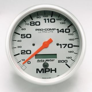 Autometer Ultra Lite Series Speedometer 0 200 MPH 5 Dia Electrical