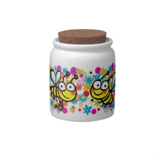 cute colorful spring summer cartoon bees candy dishes
