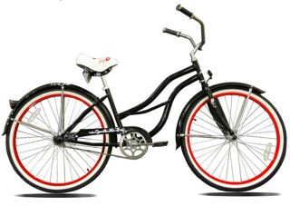 New 26 Beach Cruiser Bicycle Lady Black with Red Rims