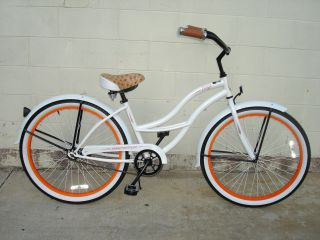 New 26 Beach Cruiser Bicycle Bike Onyx Lady White