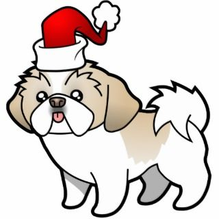 Christmas Shih Tzu (silver parti puppy cut) Acrylic Cut Outs