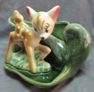 Vtg Walt Disney Bambi Pottery Planter Figural Flower Pot Green Drip