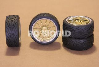 Car Tires Goldchrome Lip Wheels Rims Package Kyosho Tamiya HPI