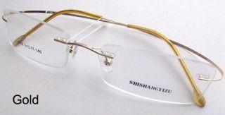 Gold Black Silver Grey Rimless Light Flexible Eyeglass Frame Eyewear