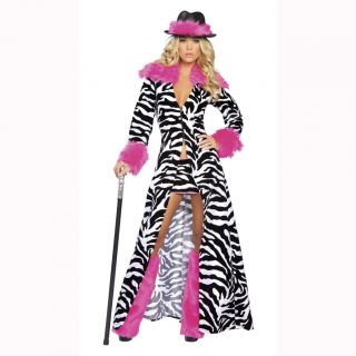 Ladies Womens Zebra Pimp 1970s 70s Hen Night Fancy Dress Costume Size
