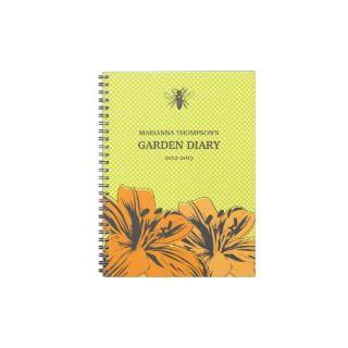 Retro Modern Flowers Garden Diary Notebook