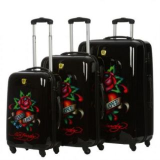 Ed Hardy Brazil Eternal Love 3 Piece Spinner Luggage Set Black