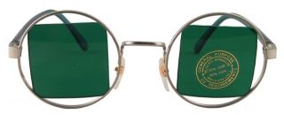 Steampunk Green Square Lens Round Silver Hippie Sun Glasses 401