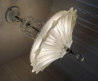 Vintage Art Deco Sunflower Petal Glass Ceiling Light Fixture