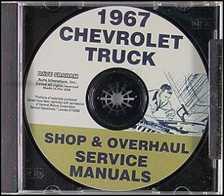 1967 Chevy Truck Shop Manual and Overhaul CD Pickup Suburban Van Panel