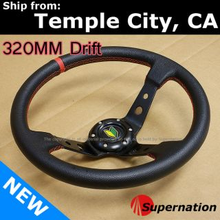 Nissan Deep Dish Drift Racing Steering Wheel Red Stitch Beginner Badge