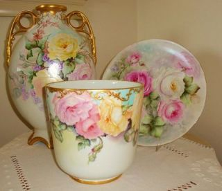 Fabulous Antique Limoges France Jardiniere   Planter   Vase  Urn Hand
