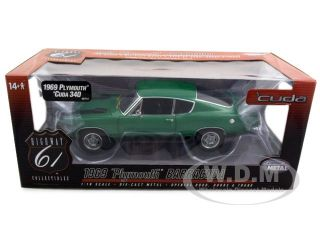 model of 1969 Plymouth Barracuda 340 die cast model car by Highway 61