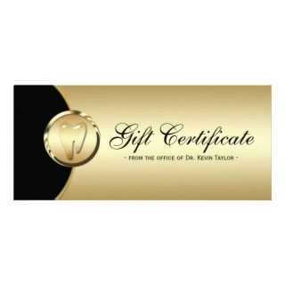 Dental Rack Card Gift Certificate Gold Black