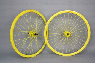 Velocity Deep V Track Wheels Solid Yellow Fixed Gear