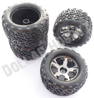 Stampede 4x4 VXL 4 Tires Wheels 12mm Hex Nuts Axles Rim 6708