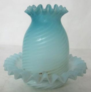 Amazing C 1910 Blue Satin Glass Fairy Lamp