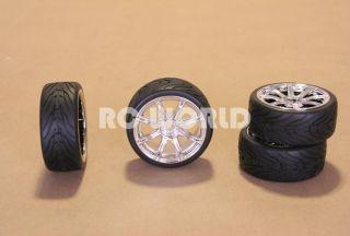 RC 1 10 Car Tires Wheels Rims Package Tamiya HPI Chrome 8 Star Semi