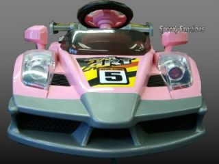 Girls Pink Ride on in Race Car Power RC Remote Wheels