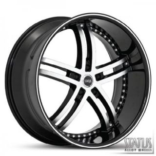 20 Black Status Knight Wheels Rims 5x114 3 Staggered