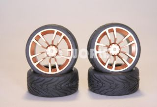 RC 1 10 Car Tires Gold Wheels Rims Package Kyosho Tamiya HPI