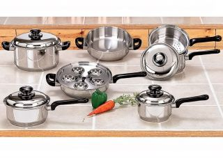 Kitchen 17 PC Stainless Steel Cookware Set Pot Pan