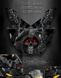 Ski Doo XP Rev MXZ Summit 08 12 Hood Graphics Inevitable Death Black