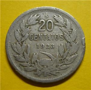 1923 Chile 20 Centavos Twenty Cents World Coin Circulated 486