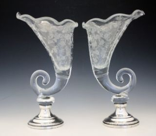 PR ANTIQUE SHEFFIELD CORNUCOPIA ACID ETCHED CRYSTAL & STERLING SILVER