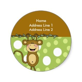 ROUND ADDRESS LABELS Baby Monkey Stickers