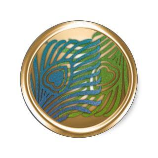 Gold Art Deco Peacock Envelope Seal Set 1104 Round Sticker
