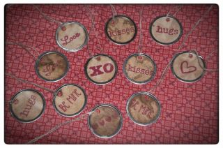 Valentine Love XO Primitive Metal Rim Hang Tags Gift Ties Ornies