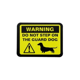 Dachshund Funny Guard Dog Warning Vinyl Magnet