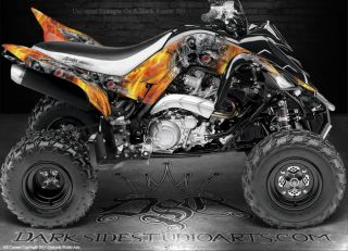 Yamaha Raptor 700 ATV Graphics Machinehead Fire Edition Reaper Skull