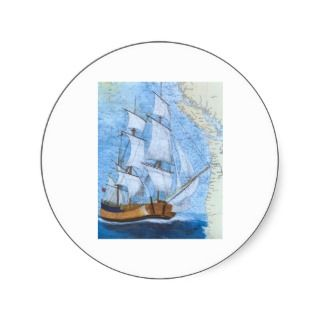 Tall Sailing Ship HMS ENDEAVOUR Nautical Chart Round Stickers