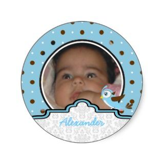 It's a boy baby birth polkadot photo announcement round stickers