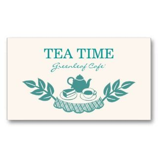 Floral Retro Tea House Coffee Cafe Business Cards