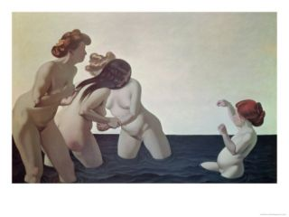 Three Women and a Young Girl Playing in the Water, 1907 Giclee Print by Félix Vallotton