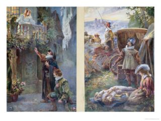 Postcards Depicting Cyrano De Bergerac with Roxanne and the Death of Christian, circa 1900 Giclee Print
