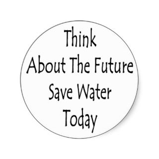 Think About The Future Save Water Today Round Stickers