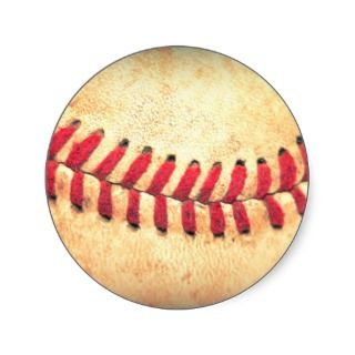 Vintage baseball ball round stickers